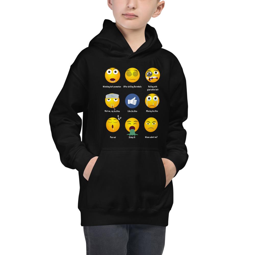 Youth/Kids BJJ Hoodie – Brazillian Jiu-Jitsu 9 Shades Emoji Emoticons 1