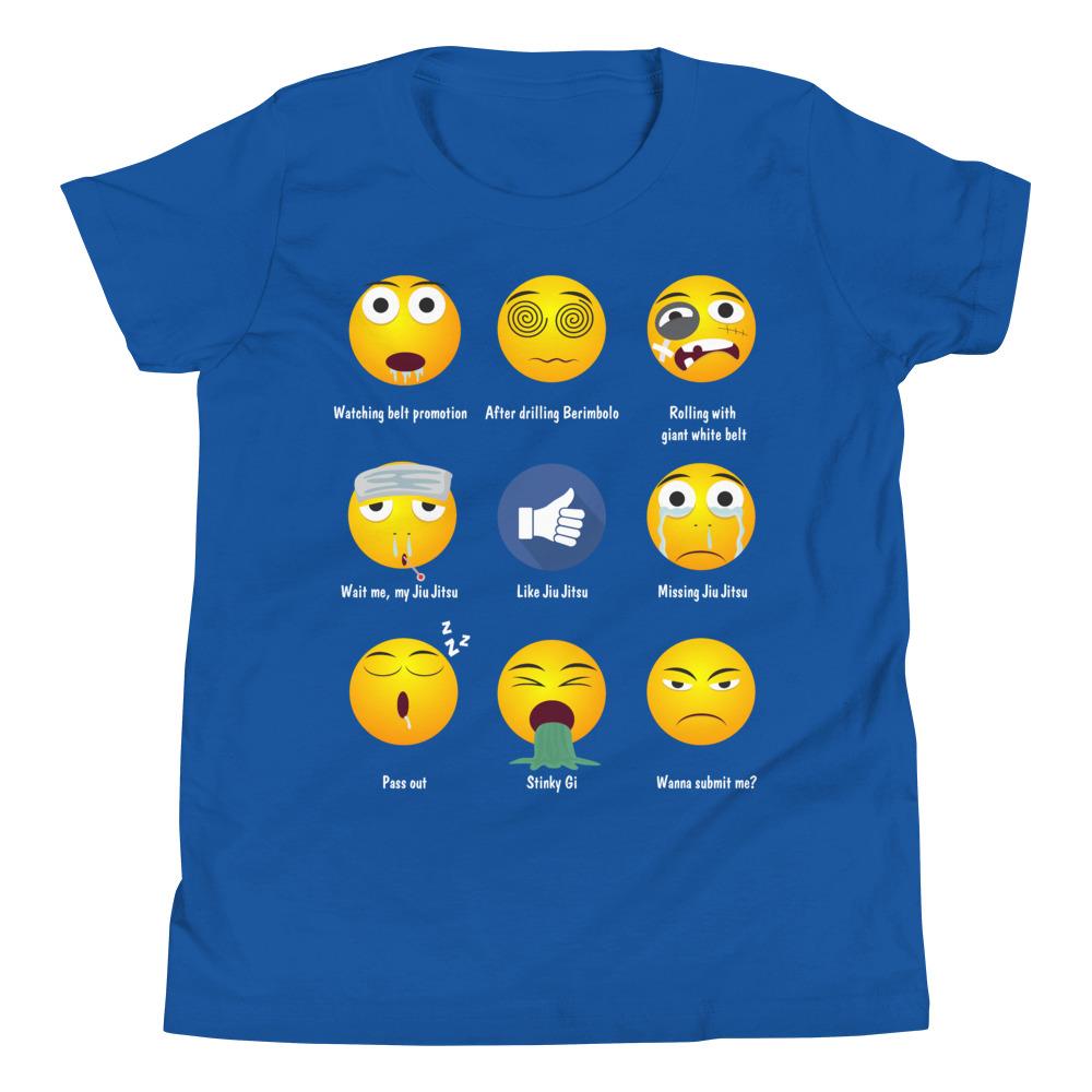 Youth/Kid BJJ T-Shirt - Brazillian Jiu-jitsu 9 Shades Emoji Emoticons 5