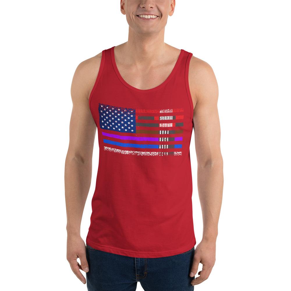 BJJ Tank top for men - BJJ belts and stripes in American Flag 7