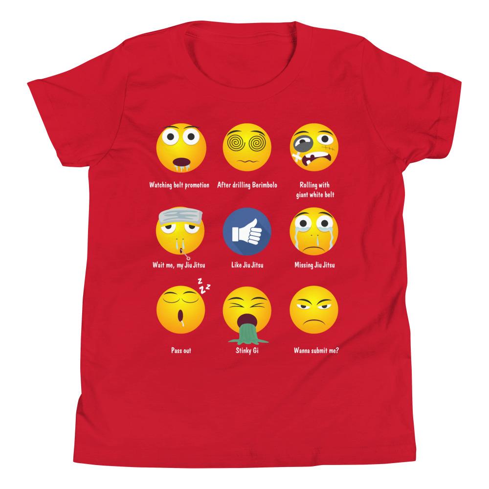 Youth/Kid BJJ T-Shirt - Brazillian Jiu-jitsu 9 Shades Emoji Emoticons 7