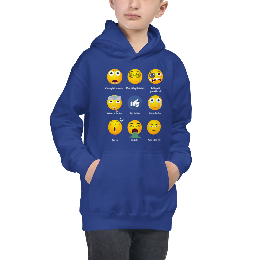 Youth/Kids BJJ Hoodie – Brazillian Jiu-Jitsu 9 Shades Emoji Emoticons 4