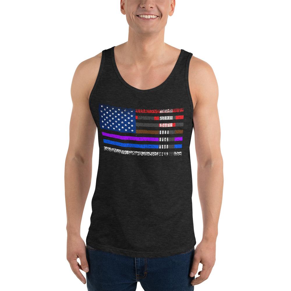BJJ Tank top for men - BJJ belts and stripes in American Flag 2